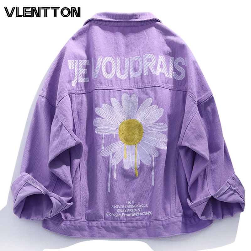 2020 Spring Purple Pink Streetwear Floral Embroidery Women Denim Jacket Korean Casual Loose Jeans Coat Female Outwear Tops