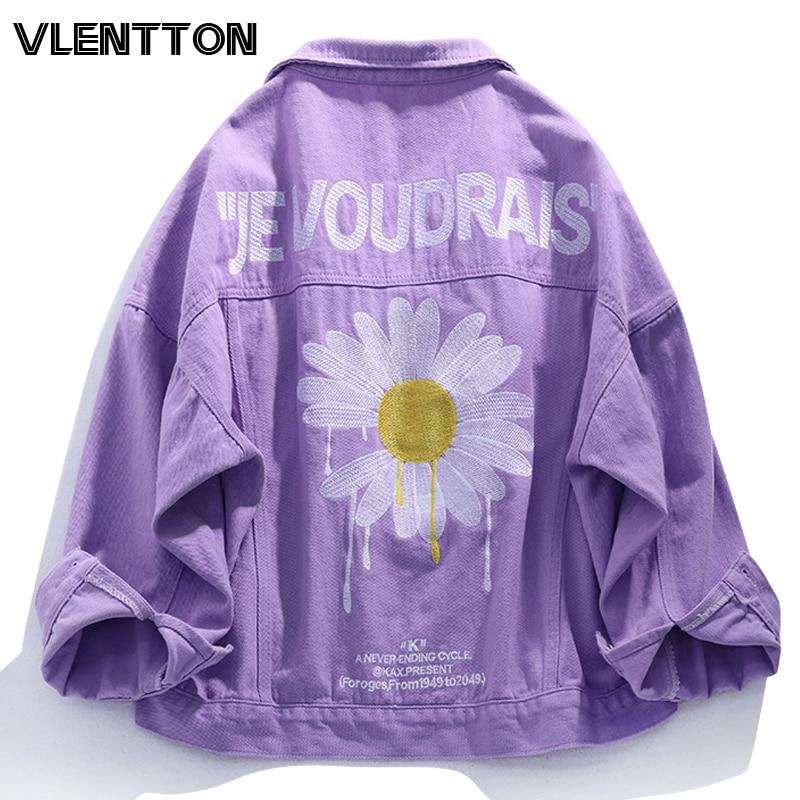 2020 Spring Purple Pink Streetwear Floral Embroidery Women Denim Jacket Korean Casual Loose Jeans Coat Female Outwear Tops
