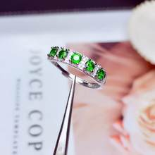 Fashion elegance Lovely cute Row Natural green diopside Ring S925 Silver Natural Gemstone Ring girl Women's party gift Jewelry(China)
