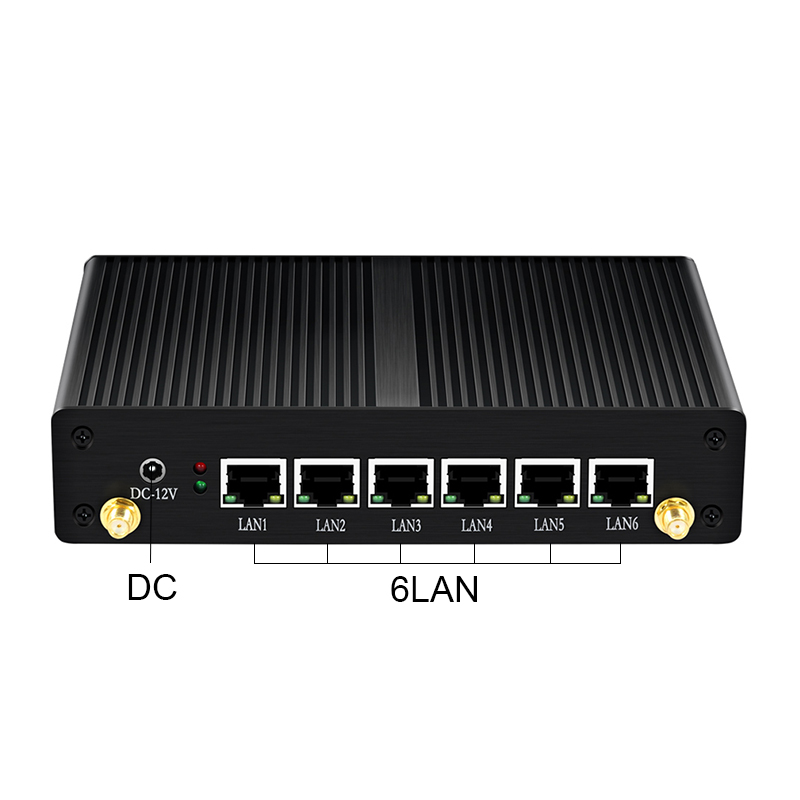 Fanless Mini Pc for Linux and Windows 10 OS with Intel Celeron CPU and 6 LAN for Home and Office Use 3