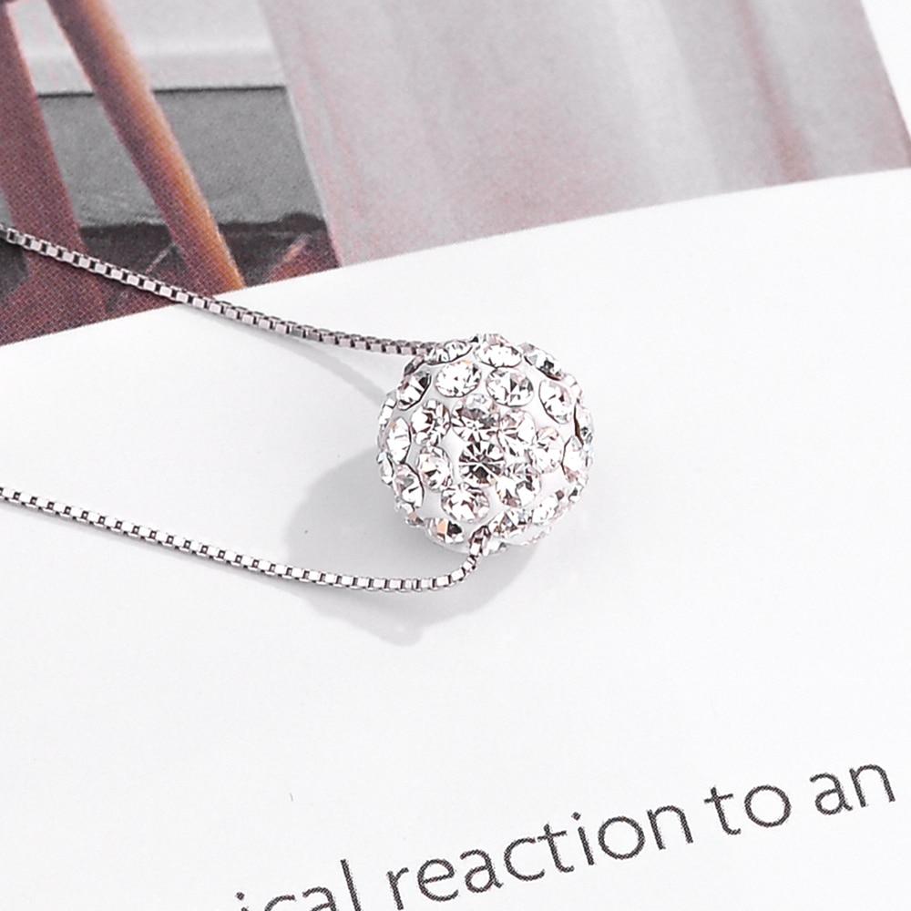 DISINIYA  100%925 Silver Simple Zircon Necklace Double Jewelry Crystal Ball Pendant LWXX0022