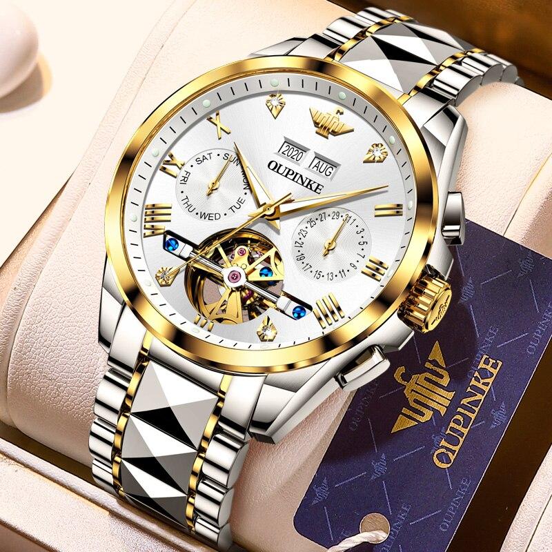 2020 Luxury Men Mechanical Wristwatch Tungsten Steel Tourbillon Watch Sapphire Glass Men Watches reloj hombre OUPINKE Brand 2