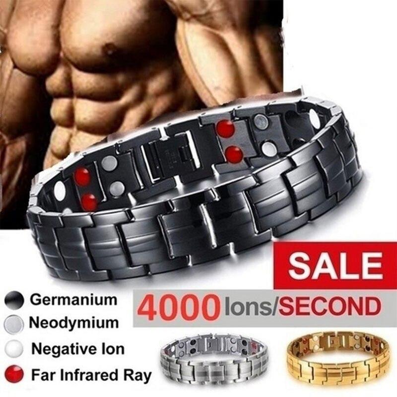 Pulsera y brazalete para el cuidado de la salud para hombre y mujer, producto adelgazante, pulseras magnéticas de turmalina de acero inoxidable a la moda