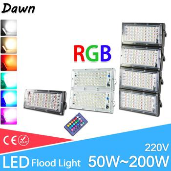 LED Flood Light 50W 100W real power RGB Floodlight LED street Lamp 220V 240V waterproof  outdoor Lighting IP65 led spotlight цена 2017