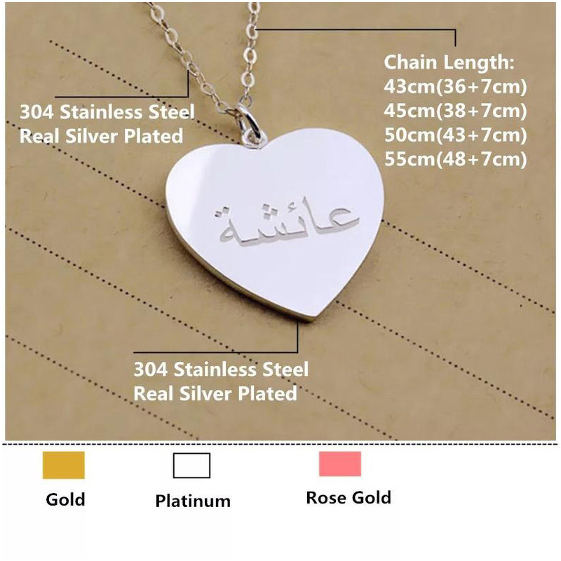 Custom Name Neckla Personalized Engraved Name Necklace Silver Heart Statement Necklaces Women Custom Bijoux Femme 35*30mm