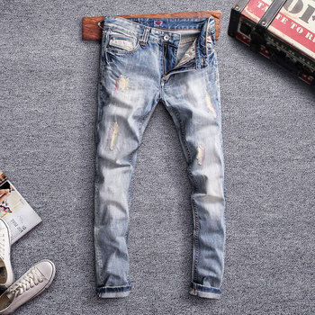 Fashion Streetwear Men Jeans Light Blue Slim Fit Destroyed Ripped For Embroidery Patch Design Vintage Classical