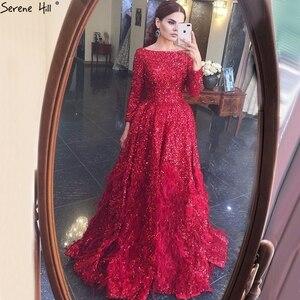 Image 2 - فساتين سهرة فاخرة على شكل حرف a مثيرة باللون الأحمر من دبي لعام 2020 فستان رسمي بأكمام طويلة مزين بالترتر الريش طراز Serene Hill HM67124