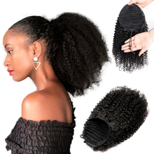 Hair-Extensions Curly Ponytail Remy-Hair Clip-In Afro Kinky Natural 100%Human-Hair Black