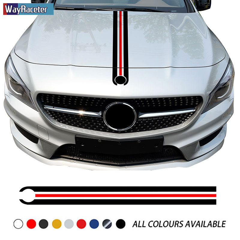 Car Hood Sticker Bonnet Stripes Decal For Mercedes Benz W204 W205 W176 W177 A45 CLA250 W213 W211 C63 AMG A C E CLA GLA GLC CLS
