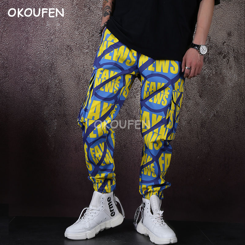 Personality casual pants men's overalls printed pocket trousers elastic feet pants loose trousers