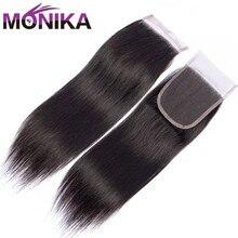 Индийские прямые волосы Monika, 100% человеческие волосы на шнуровке, 4x4, средние/свободные/три части, 8 22 дюйма, швейцарские кружевные застежки, не Реми