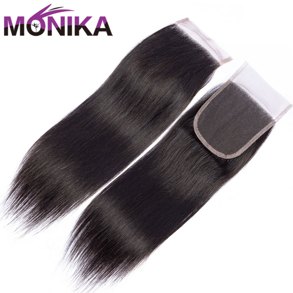 Monika Hair Indian Straight Closure 100% Human Hair Closure Lace 4x4 Middle/Free/Three Part 8-22Inch Swiss Lace Closure Non Remy