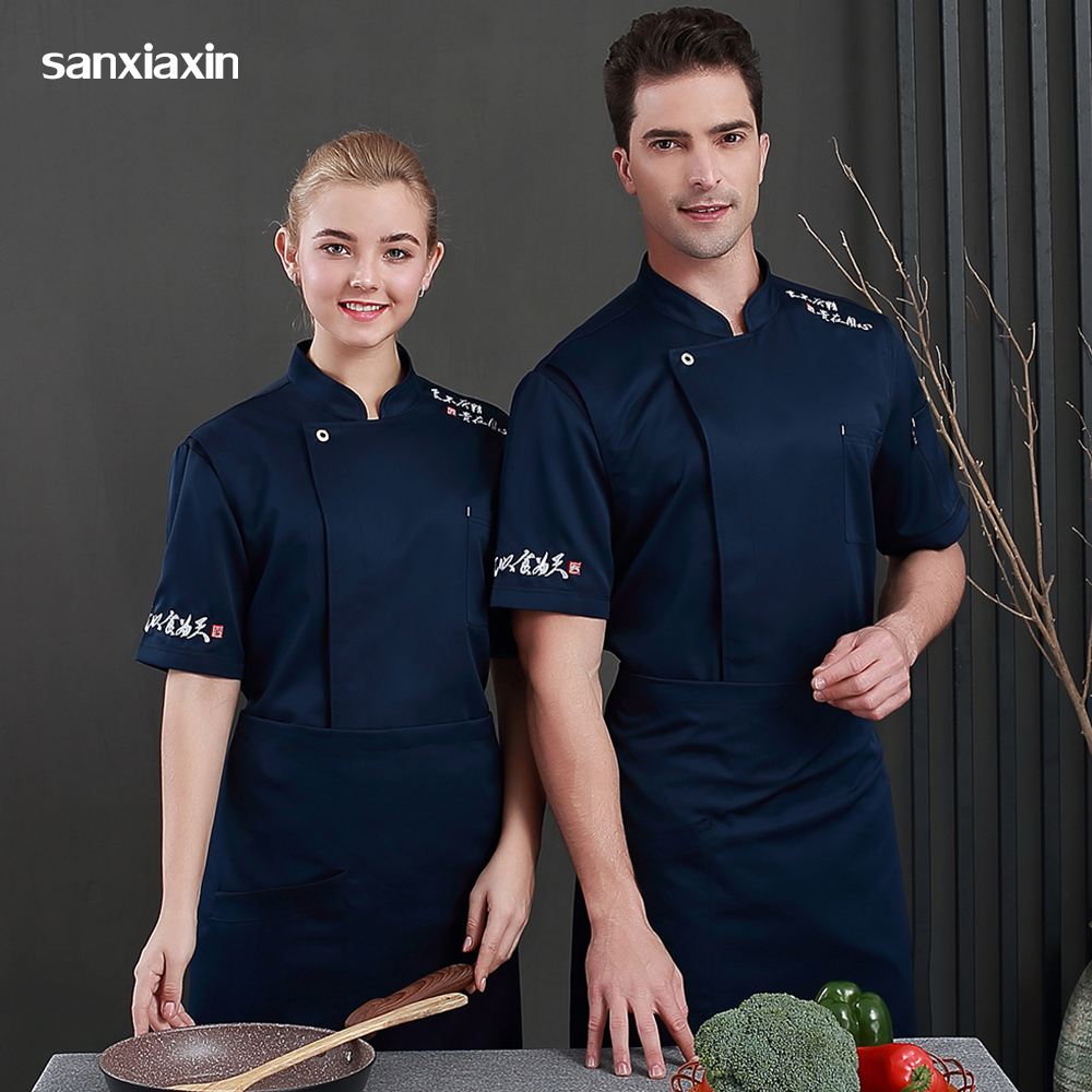 New Food Service Work Clothes Men Restaurant Kitchen Chef Uniform Hotel Waitress Cooker Jackets Cake Coffee Shop Waiter Coats
