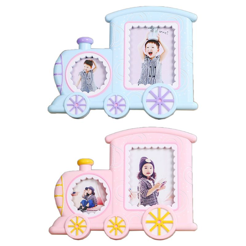 Baby Cartoon Train Shape Photo Frame Infant Year Old Growth Picture Holder Decor P31B