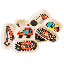 3pcs/set Cartoon Car Plate Fork Spoon Dinner Plates Set Dishes Divided Compartment Plates Tableware for Kids Toddlers Children