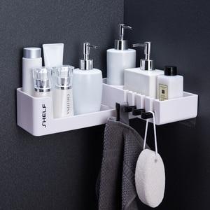 Image 2 - Bathroom Corner Shelf Shower Shampoo Organizer Rotatable Without Drilling With 4 Hooks For Bathroom Basket Kitchen Storage