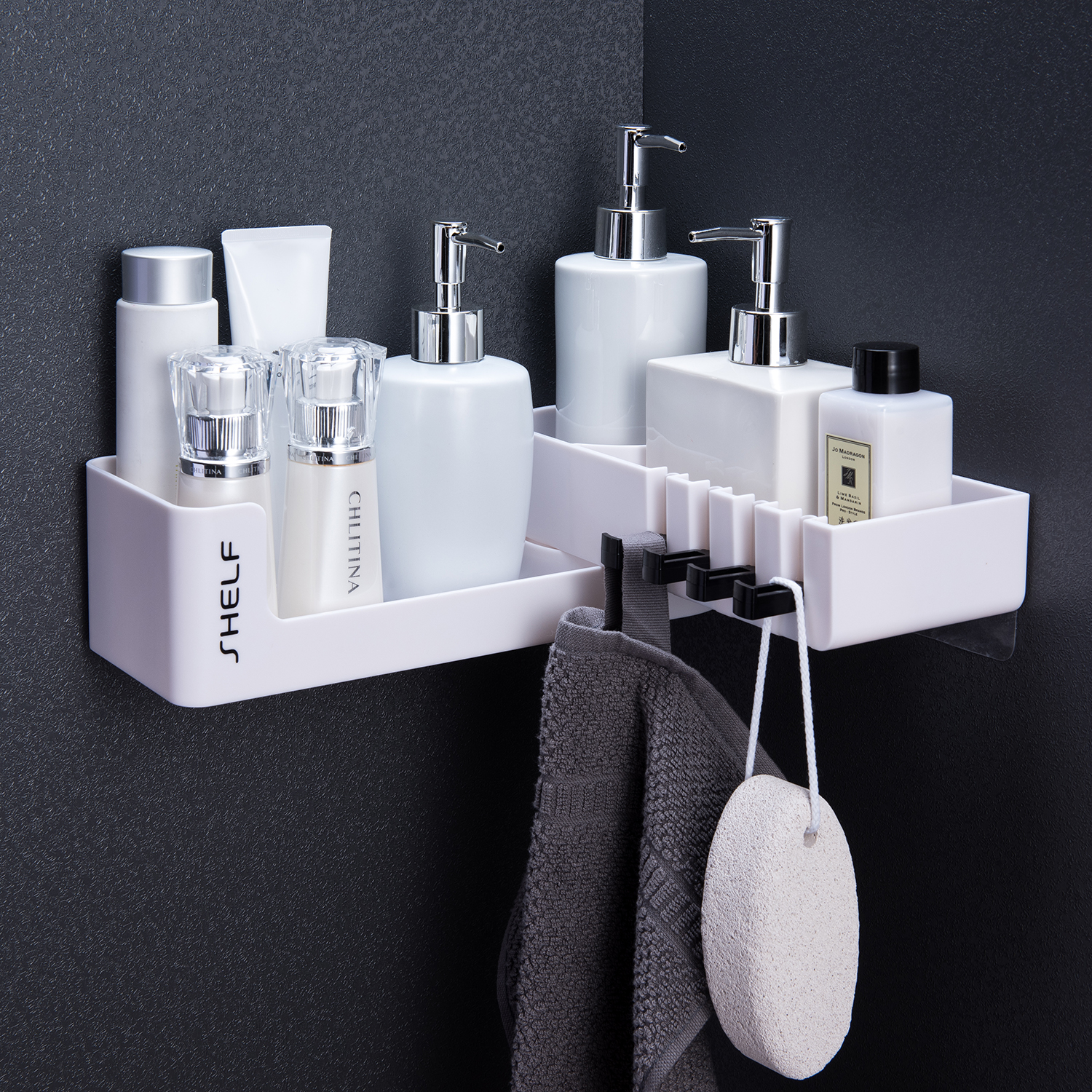 Bathroom Shelf Shower Corner Storage Holder Shelves Organizer Rotatable Wall Mounted Bath Accessories Bathroom Shampoo Holder