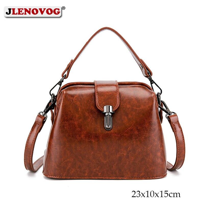 Doctoc sac femmes cuir sac à main 2019 dames petit sac fourre-tout Vintage sac à bandoulière pour filles cadenas messagers noir marron rouge
