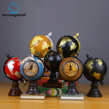 Strongwell European Vintage Globe Clock Model Resin Figurine Art Crafts Ornaments Home Decoration Living Room Birthday Gift