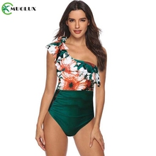 Swimsuit 2019 One Piece Ruffle Swimwear Women Bathing Suit Monokini Shoulder Print Lace Ruched Tummy Control Swim XL