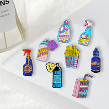 Funny Cleaning Spray Pins BULLSHIT BE GONE Cartoon Badges Brooches Bag Accessories Enamel pins Fun Jewelry Gifts for Friends