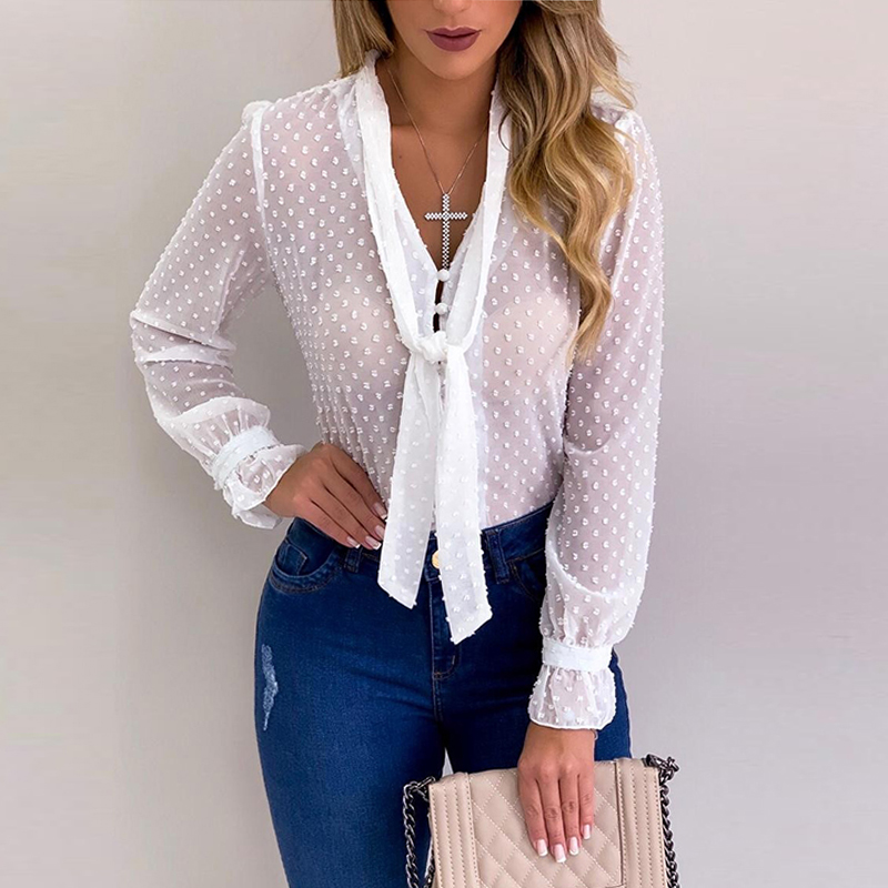 Chiffon Blouse Women Autumn White Tops Elegant Long Sleeve Office Shirts Casual Clothes Buttons Blusas Mujer De Moda 2020