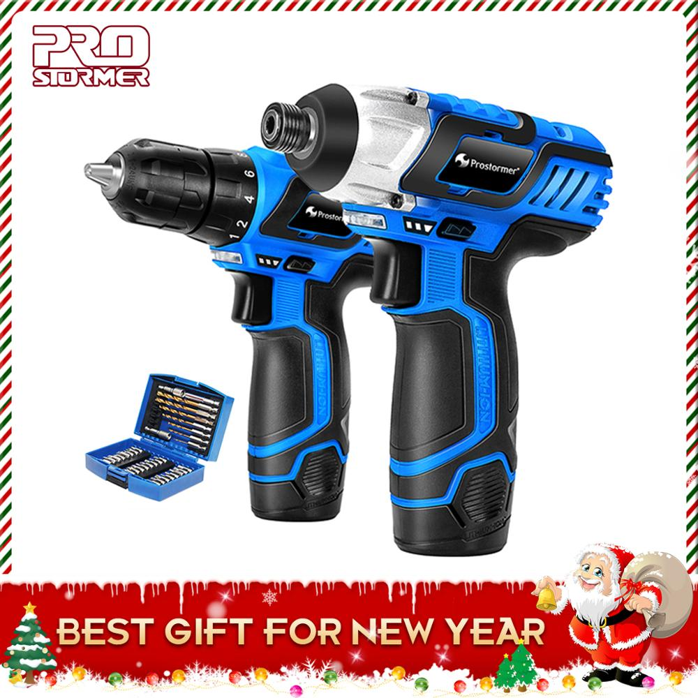 PROSTORMER 12V Electric Cordless Screwdriver Drill Lithium Battery Power Tools with 34pcs accessories DIY Household portable