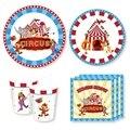 44 шт./компл. цирк карнавальный День рождения поставки сафари бумажные салфетки для вечеринки дня рождения, одноразовая посуда джунгли вечер...