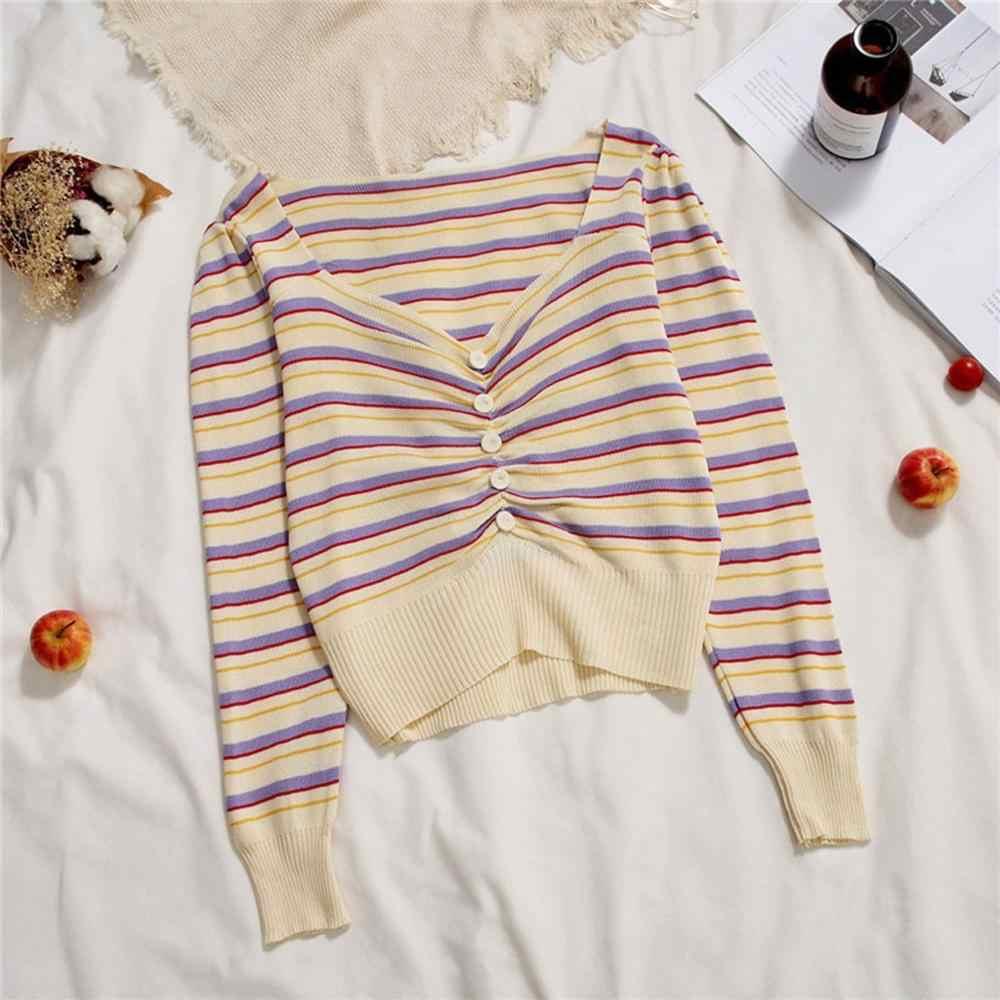 Свитер женский, Повседневный, вязаный, v-образный вырез, топы, длинный рукав, в полоску, тонкий свитер, кардиган, pull femme nouveaute 502SS30X