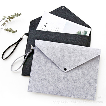 Simple Solid Wool Felt A4 File Folder Big Capacity Document Bag Simple Business Briefcase Paper Ipad Storage Bag Student Gifts a4 folder for documents simple solid black color leather document paper bag business briefcase filing products storage organizer