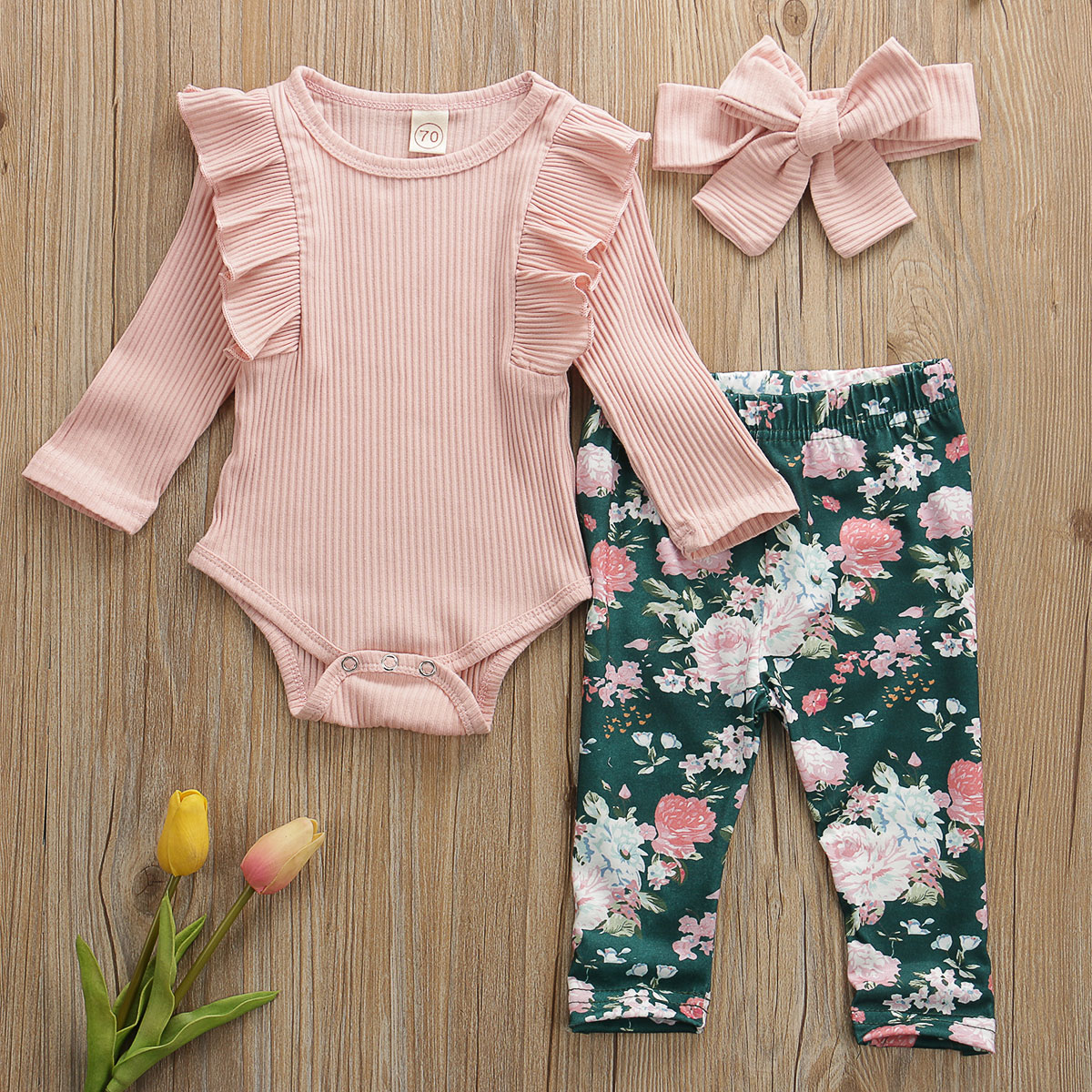 Pudcoco Newborn Baby Girl Clothes Solid Color Knitted Cotton Romper Tops Flower Print Long Pants Headband 3Pcs Outfits Clothes
