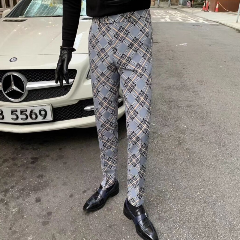Slim Fit Pants Fashion Lattice Suit Pant Erkek Pantolon Skinny Fit Moda Masculina Office Pants Men 2020 Spring Dress Pant