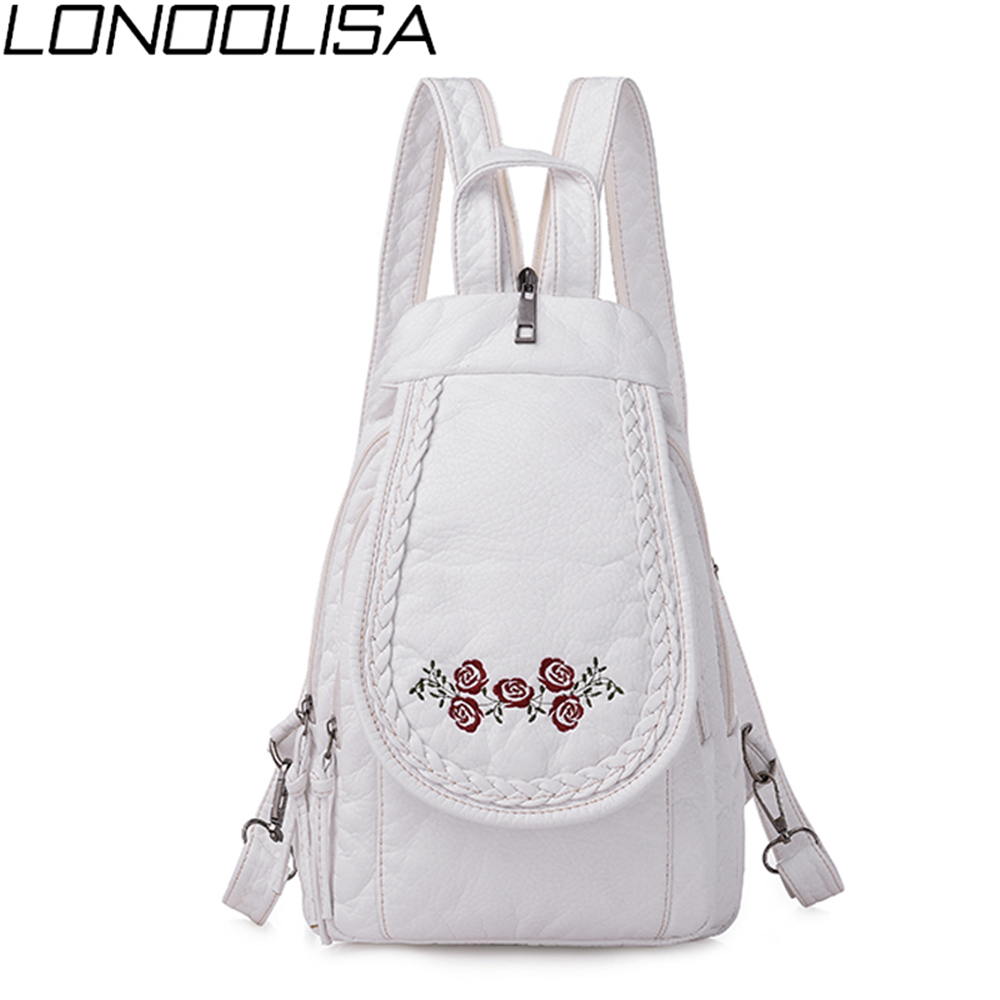 Elegant Rose Embroidery Women Small Backpack Ladies 3 in 1 Soft Washed leather Bagpack Chest bags For Women Sac A Dos Moachilas