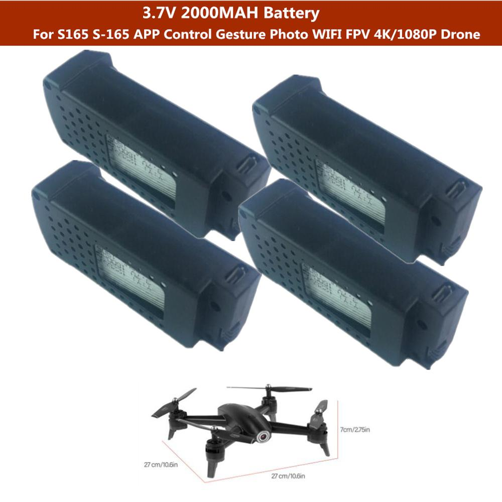 2PCS or 1PCS 3.7V 2000mah battery For <font><b>S165</b></font> S-165 APP Control Gesture Photo RC <font><b>Drone</b></font> WIFI FPV 4K/1080P Dual Camera <font><b>Drone</b></font> image