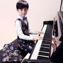 Flower Boys Luxurious Wedding Suit Kids Jacket Vest Pants 3Pcs Party Dress Children Piano violin Stage Show Performance Costume
