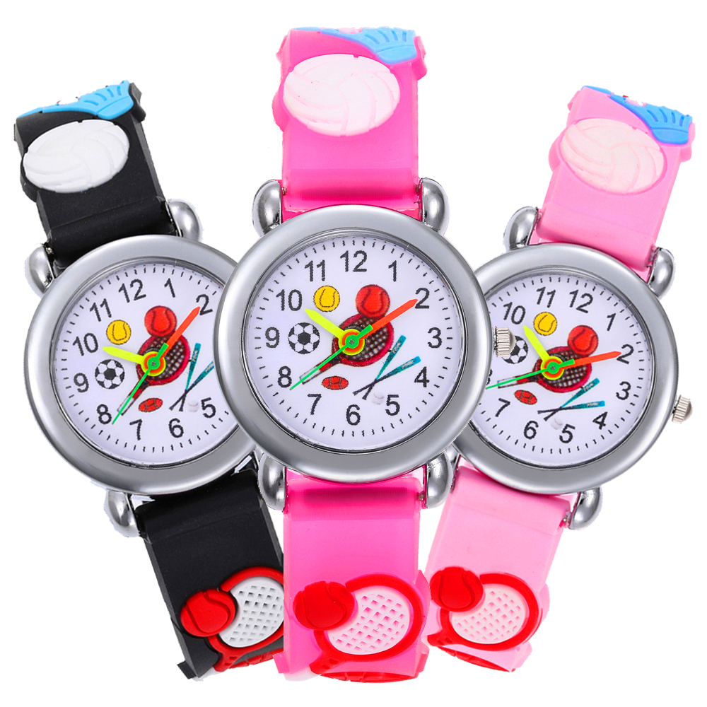 New Children Sports Watch Basketball / Football / Tennis Racket Boys Girls Gift Students Clock Kids Quartz Watches For Kid Gifts