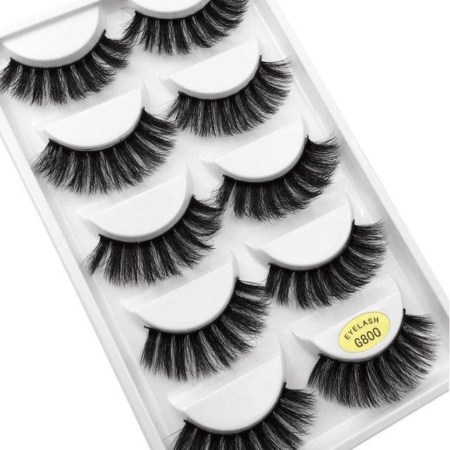 5 Pairs Multipack 3D Mink Lashes False Eyelashes Handmade Wispy Fluffy Long Lashes Natural Eye Makeup Tools Faux Eye Lashes G800 5