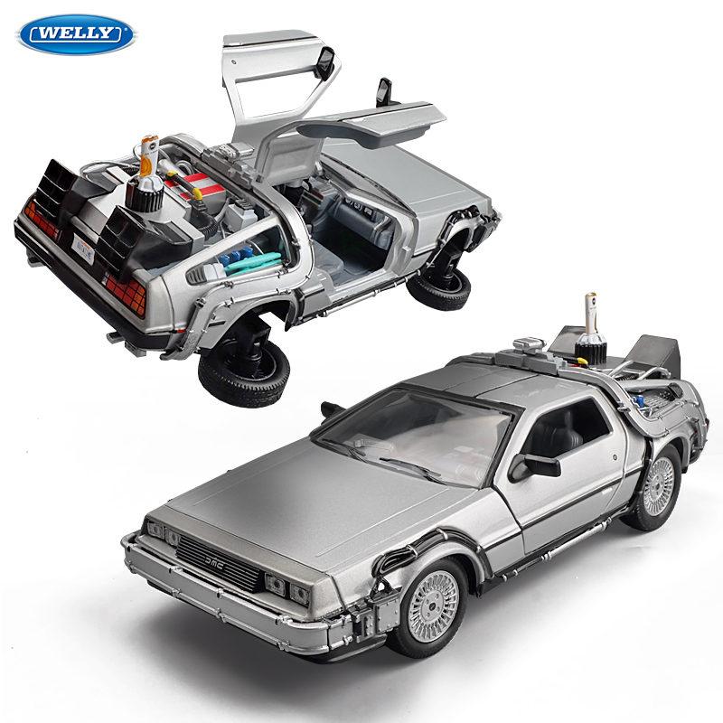 Welly 1:24 aloi model kereta DMC-12 Mesin masa DeLorean dari Back to - Kereta mainan - Foto 1