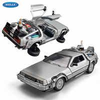 Welly-modelo de coche de aleación fundido a presión DMC-12 delorean, coche de juguete de Metal para chico juguete para regalo, Colección, 1:24