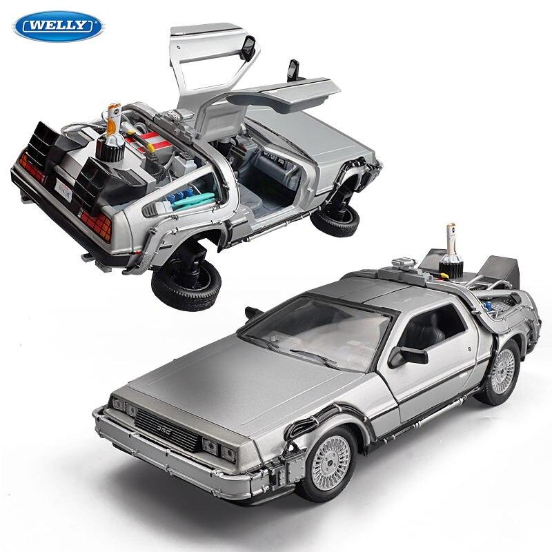 Welly 1:24 modèle de voiture en alliage moulé sous pression DMC-12 delorean retour au futur temps Machine métal jouet voiture pour enfant jouet cadeau Collection