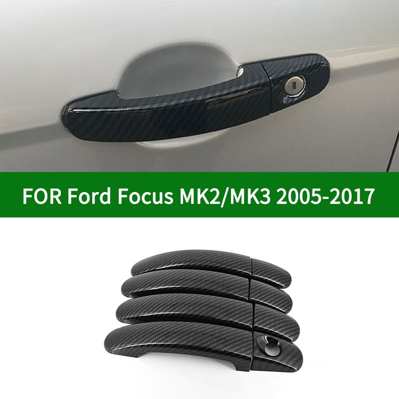 Carbon fibre pattern car side <font><b>Door</b></font> <font><b>Handle</b></font> Covers Trim For <font><b>Ford</b></font> <font><b>Focus</b></font> MK2 MK3 2005-2017 2006 2007 2008 2009 2010 2011 2012 2013 image