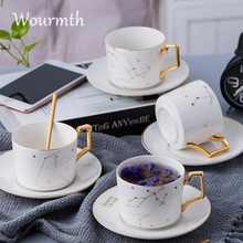Wourmth 12Constellations Кофейная чашка Блюдце с белыми и золотыми косточками Фарфоровые чайные чашки с ложкой из нержавеющей стали
