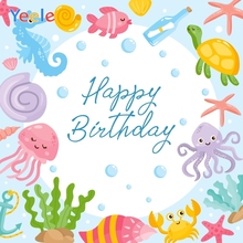Yeele Birthday Party Photocall Undersea Animals Fish Photography Backdrops Personalized Photographic Background For Photo Studio