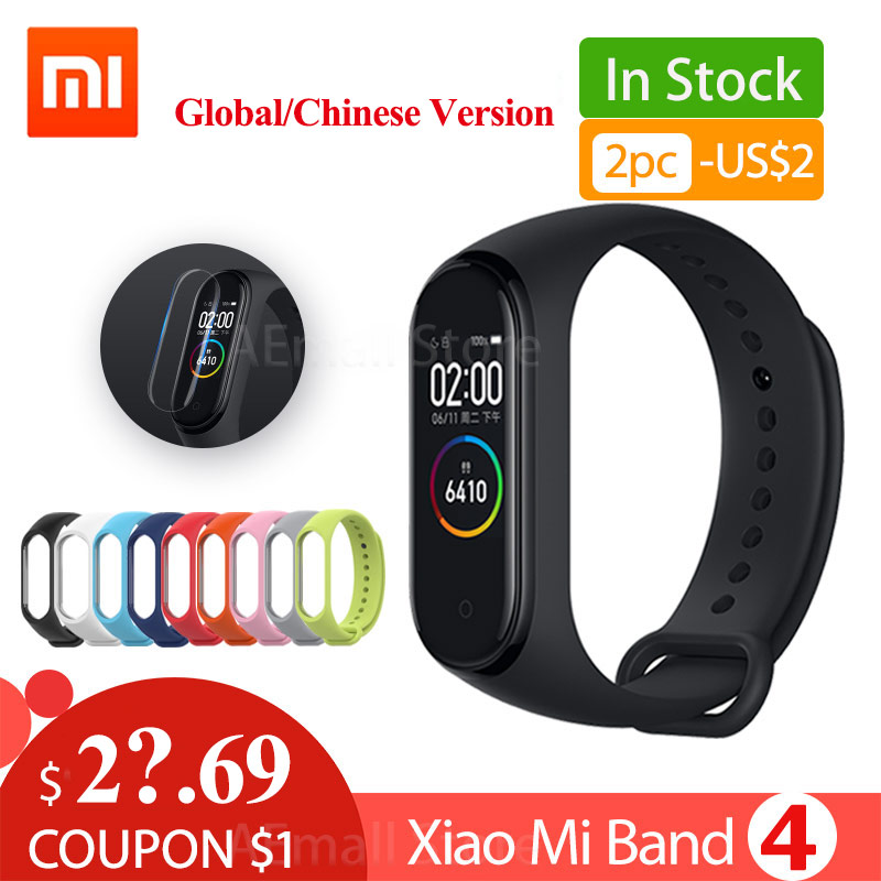 Global Version Xiaomi Mi Band 4 Smart Wristbands Miband 4 Bracelet Heart Rate Fitness 135mAh Color Bluetooth 5.0 Chinese Version