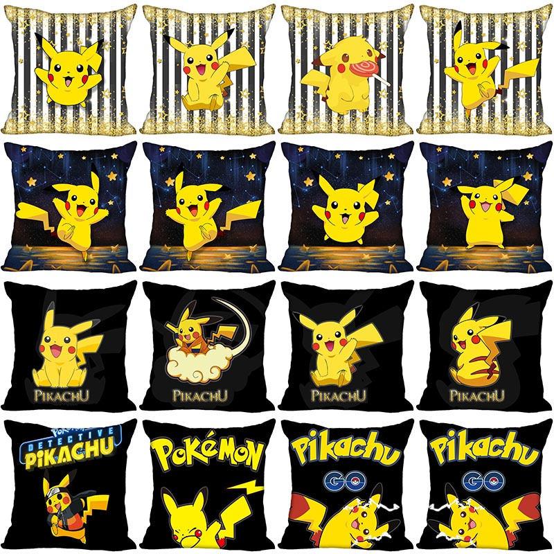 Pikachu Pokemon Cartoon Pillowcase Bedroom Home Decorative Gift Pillow Cover Square Zipper Pillow Cases 40x40,45x45 Satin Soft