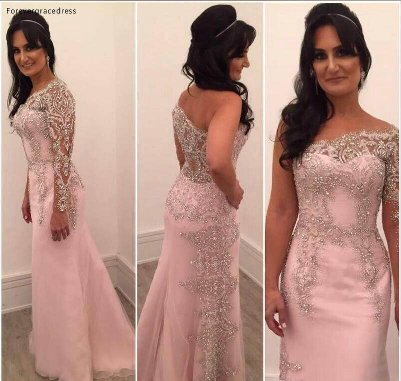 New Arrival One Shoulder Mother Of The Bride Dresses Crystals Beads Formal Godmother Evening Wedding Party Guests Gown Plus Size