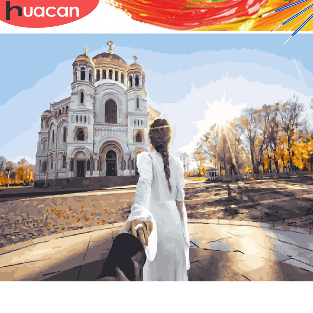 HUACAN Picture By Numbers Girl DIY Coloring HandPainted Kits Drawing Canvas Oil Painting Figure Home Decor