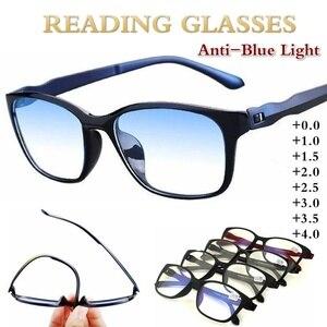 Reading Glasses Men Anti Blue Presbyopic Eyeglasses Antifatigue Computer Eyewear +0.0 +1.0 +1.5 +2.0 +2.5 +3.0 +3.5 +4.0