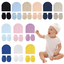 Baby Newborn Face Protection Scratch Mittens Warm Cap Kit Infants Anti Scratching Knitted Cotton Gloves+Hat Set