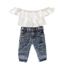 1-4Y fall baby girl clothes sets outfits infants girls clothing white crop top+jeans long pants back to school